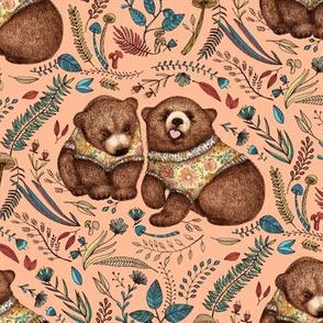 Whimsical Bear Pair - on peach