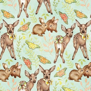 Canvas Textured Vintage Fawns on mint green