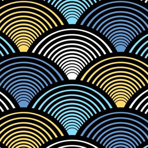 Fan Pattern Blue Yellow Medium