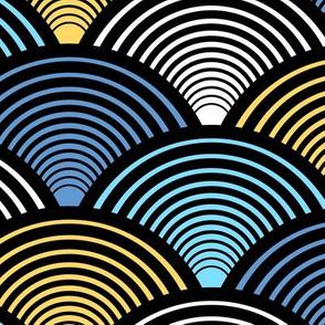 Fan Pattern Blue Yellow Large