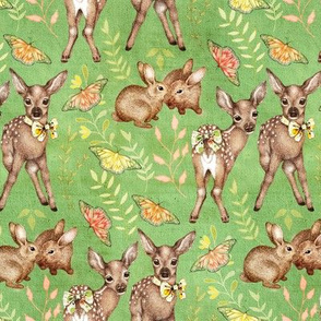 Canvas Textured Vintage Fawns on green