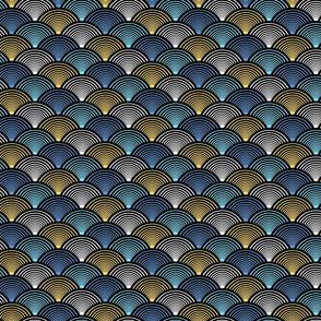 Fan Pattern Blue Yellow Small
