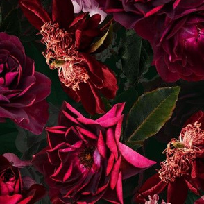 "14"" Vintage Night Roses Black"