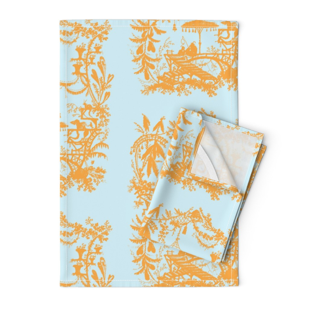 Orpington Tea Towels featuring Yu Yan citrus aqua by lilyoake