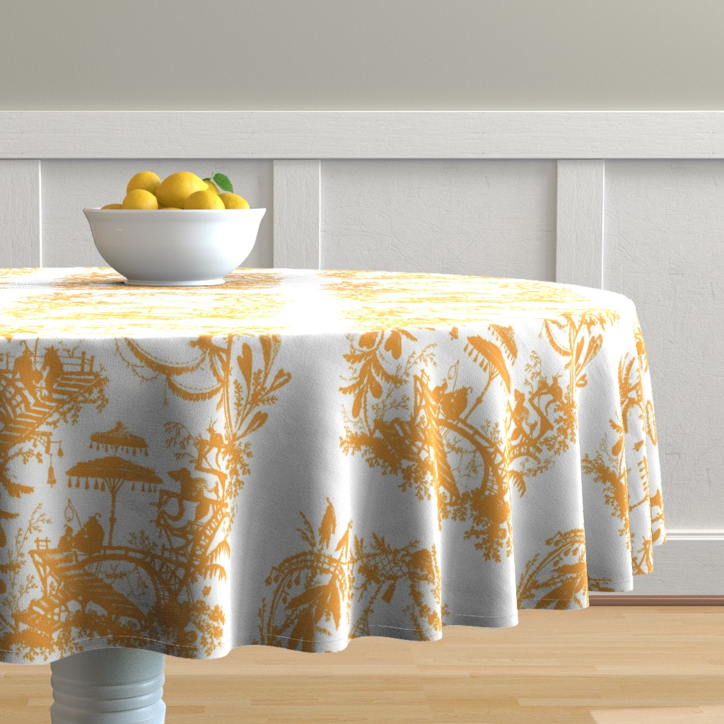 Malay Round Tablecloth featuring Yu Yan citrus 1 by lilyoake