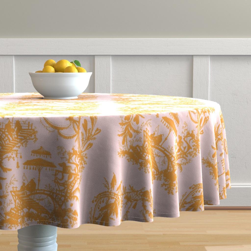 Malay Round Tablecloth featuring Yu Yan citrus peony by lilyoake