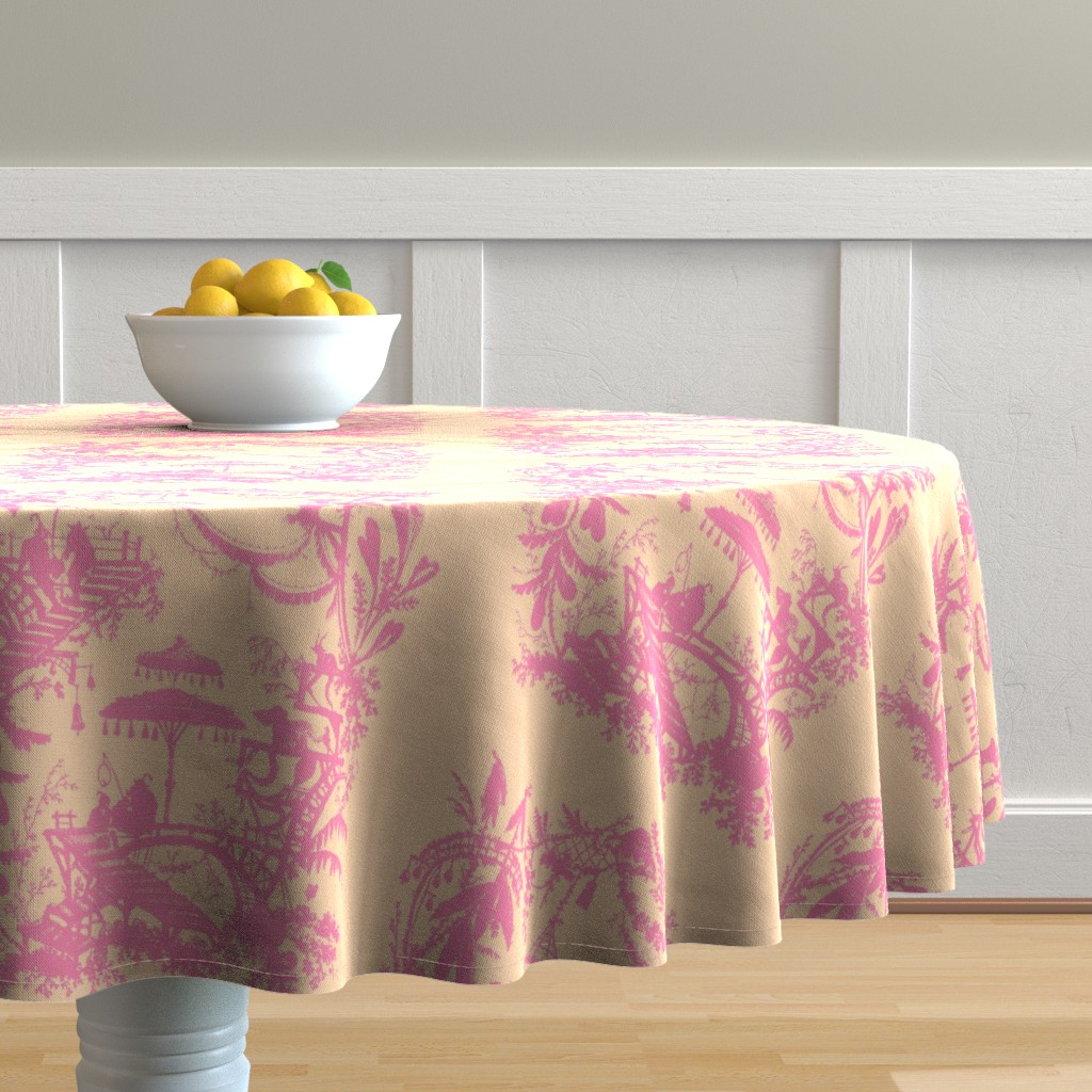 Malay Round Tablecloth featuring Yu Yan sorbet citrus by lilyoake