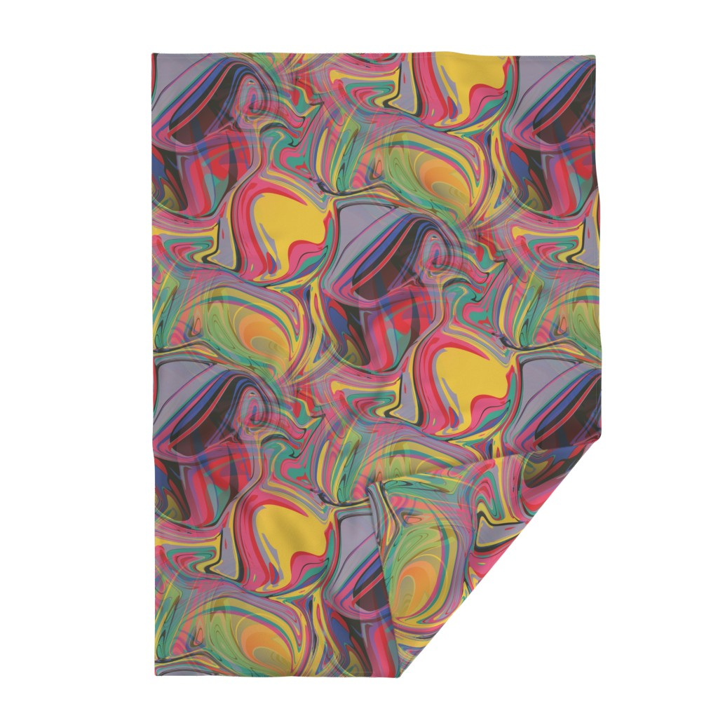 Lakenvelder Throw Blanket featuring trippy boho hippie colorful rainbow swirls abstract, red pink yellow green blue lavender orange by amy_g
