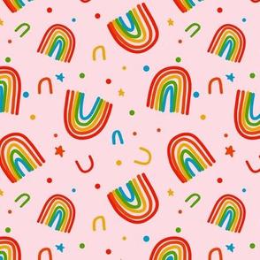 Rainbow Doodles on pink