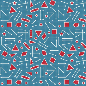 Geometric shapes in red on turquoise