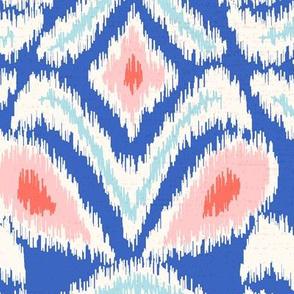 ikat flower/blue blush coral/jumbo
