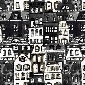 Smaller Scale - Mansard Village in Black + White Watercolor