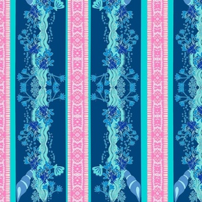 pink fringe VERTICAL stripe blue shelly - LG 14