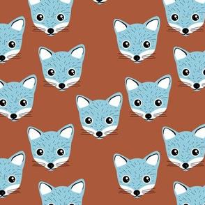 Adorable baby fox animal portrait woodland theme Scandinavian modern rusty copper cool blue neutral SMALL