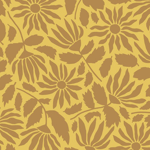 Wildflower Silhouette   Monochromatic - Yellow