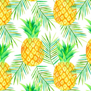 Pineapples and Palms in Watercolour