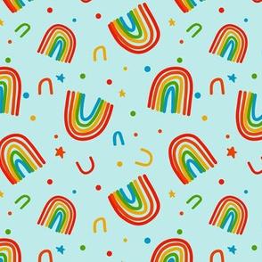 Rainbow Doodles on blue