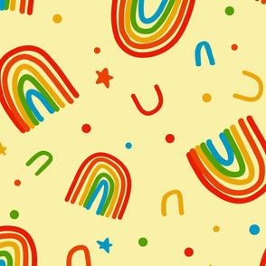 Large Rainbow Doodles on yellow