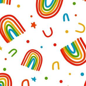 Large Rainbow Doodles on white