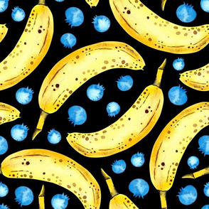 Bananas and Blueberries Black