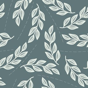 Teal swaying mint  leaves with lines  // botanical home decor