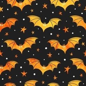Watercolor Bats Orange on Black