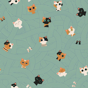 Catoodle, a bowl of cat noodle, Swimming Kittens, Pasta Salad
