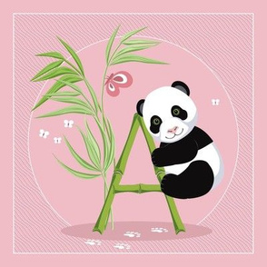 The letter A and Panda, pink background