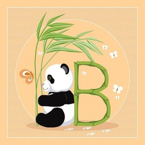 The letter B and Panda, orange background
