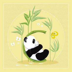 The letter C and Panda, yellow background