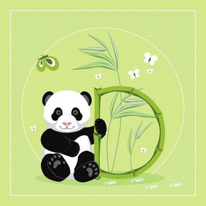 The letter D and Panda, green background