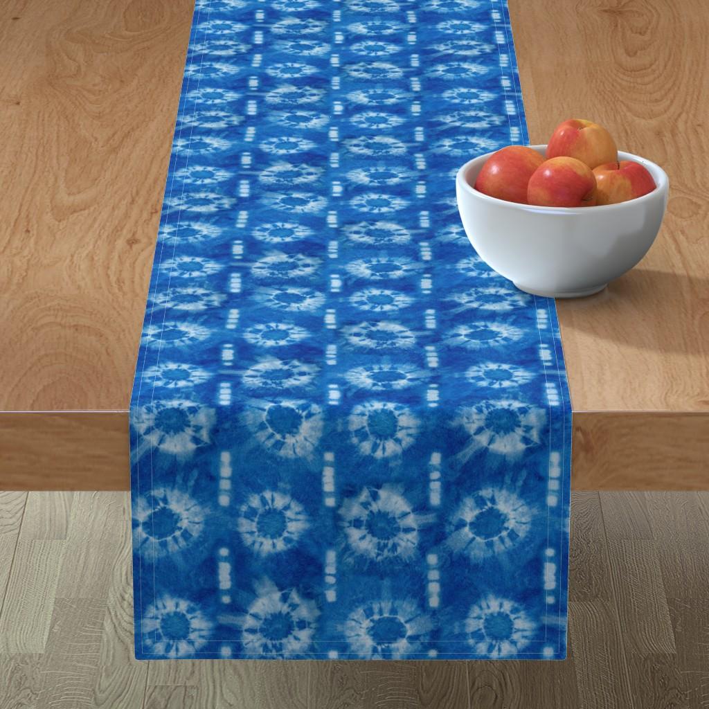 Minorca Table Runner featuring Indigo Peg Burst Tie Dye by creativeinchi