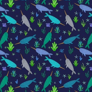 Green Blue Narwhals Watercolor Small