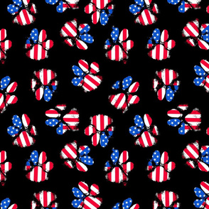 patriotic paw prints on black