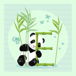 The letter E and Panda, light green background