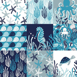 Ocean Cheater Quilt Wholecloth Blue