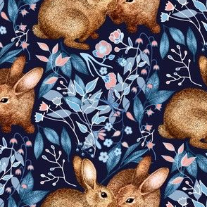 Spring Rabbit Pair - on navy blue