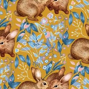 Spring Rabbit Pair - on mustard yellow