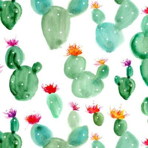 Royal cacti ★ watercolor cactus with flowers, blooming succulents for modern home decor, bedding, nursery