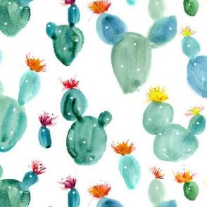 Watercolor blooming royal cacti