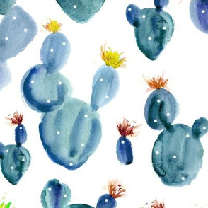 Royal cacti in blue ★ large scale watercolor blooming cactus, floral succulent for modern home decor, bedding, nursery