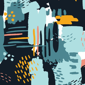 LARGE Painterly Strokes and Color Blocking
