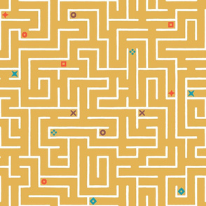 Find the way - infinite labyrinth in mustard yellow