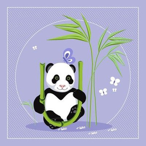 The letter U and Panda, purple background