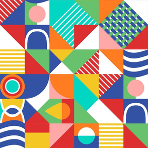 Colorful Bauhaus Rainbow Geometric