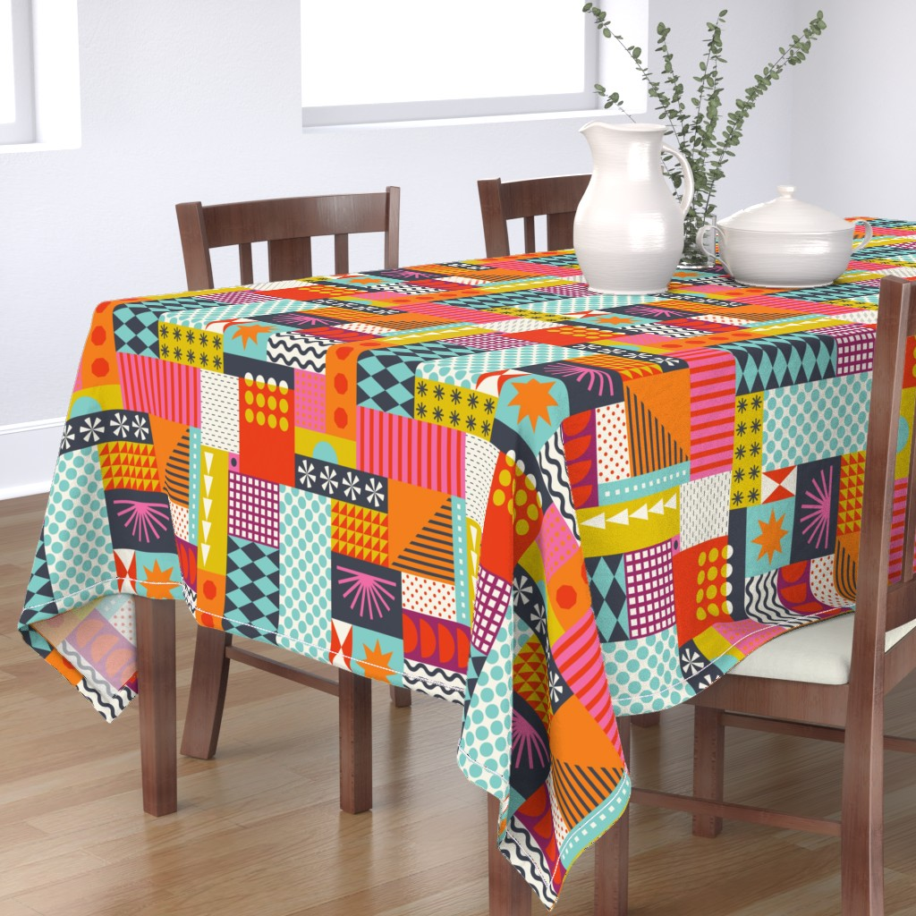 Bantam Rectangular Tablecloth featuring Shapes at Play by katerhees