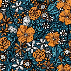 Teal & Orange Blooms