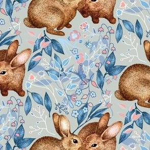 Spring Rabbit Pair - on light grey