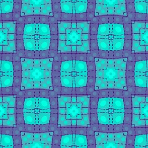 70s style check bedsheet - aqua, purple