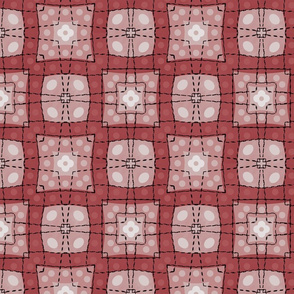 70s style check bedsheet - rust